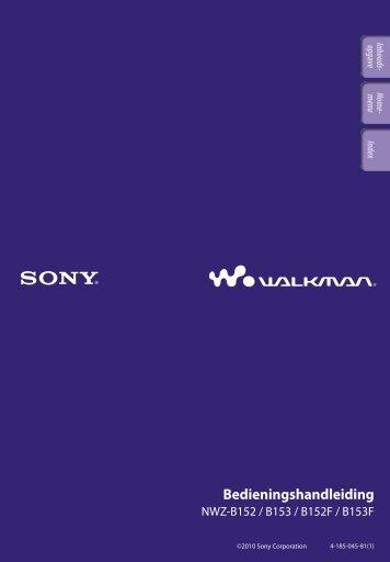 Sony NWZ-B152F - NWZ-B152F Consignes d'utilisation Néerlandais
