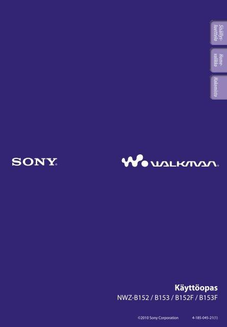 Sony NWZ-B152F - NWZ-B152F Consignes d'utilisation Finlandais
