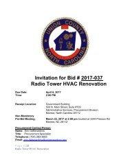 Invitation for Bid # 2017-037 Radio Tower HVAC Renovation