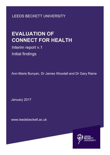 EVALUATION OF CONNECT FOR HEALTH