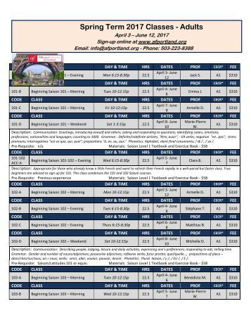 Spring Term 2017 Classes - Adults