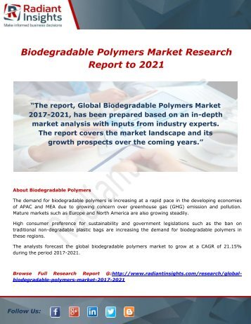 Biodegradable Polymers Market- Growth, Type and Application; Trends Forecast to 2021 by Radiant Insights,Inc