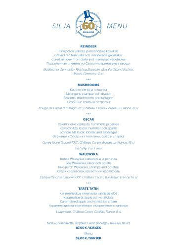 Silja 60 menu 1.4.-31.12.2017