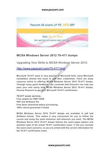 MCSA Windows Server 2012 70-417 dumps