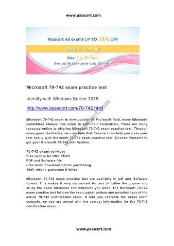 Microsoft 70-742 exam practice test