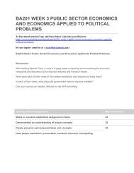 BA201 WEEK 3 PUBLIC SECTOR ECONOMICS AND ECONOMICS APPLIED TO POLITICAL PROBLEMS