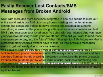 Easily Recover Lost Contacts SMS Messages from Broken Android