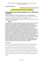 Understanding and measuring quality of care dealing with complexity