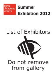 Summer Exhibition Exhibitor List.indd - The Royal Academy of Arts