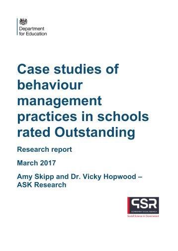 Case studies of behaviour management practices in schools rated Outstanding