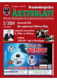 Brandenburgisches Ärzteblatt 03/2004 - Landesärztekammer ...