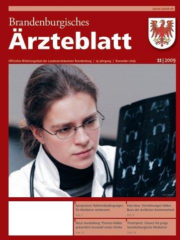 Brandenburgisches Ärzteblatt 11/2009 - Landesärztekammer ...