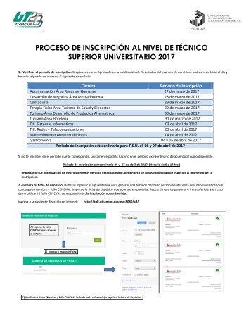 PROCESO DE INSCRIPCIÓN AL NIVEL DE TÉCNICO SUPERIOR UNIVERSITARIO 2017