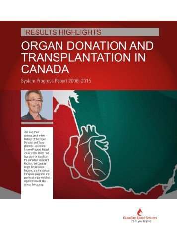 ORGAN DONATION AND TRANSPLANTATION IN CANADA