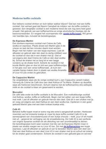 Moderne koffie cocktails