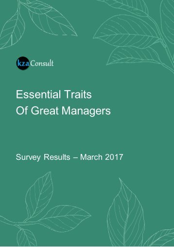 Essential Traits Of Great Managers