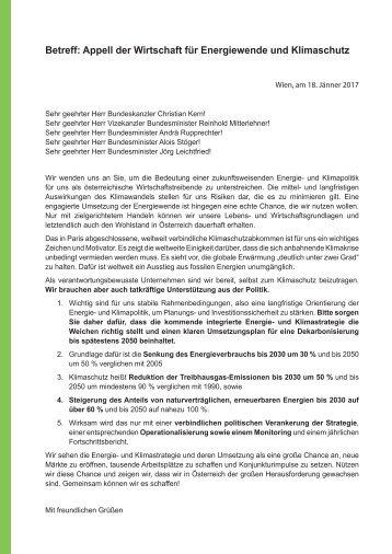 Betreff Appell der Wirtschaft für Energiewende und Klimaschutz