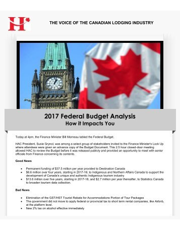 2017 Federal Budget Analysis