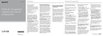 Sony SVE171D4E - SVE171D4E Guide de dépannage Roumain