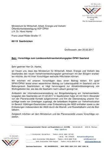 Verkehrsentwicklungsplan ÖPNV Saarland - Vorschläge der IGWRB
