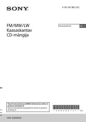 Sony CDX-G3200UV - CDX-G3200UV Istruzioni per l'uso Estone