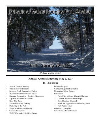 Annual General Meeting May 3 2017 In This Issue