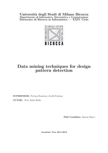 Data mining techniques for design pattern detection