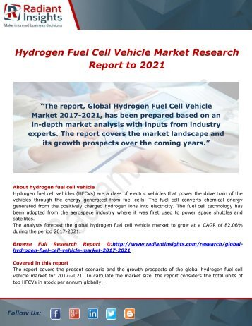 Hydrogen Fuel Cell Vehicle Market Growth Factors, Consumption, Market Current Scenario to 2021