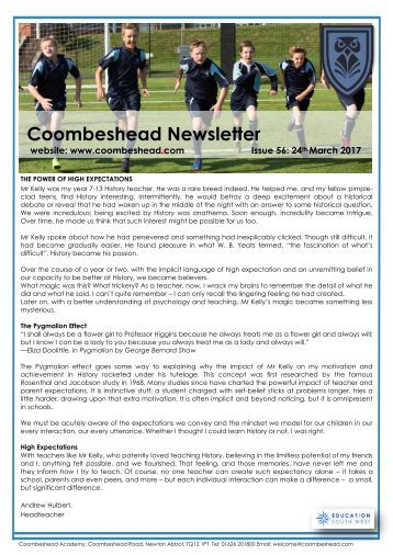 Coombeshead Academy Newsletter - Issue 56