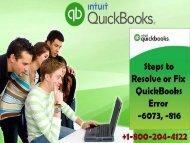 How to Resolve QuickBooks Error Code -6073, -816?
