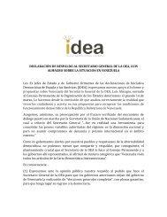 Declaración de respaldo del grupo IDEA al Secretario General de la OEA sobre la situación en Venezuela