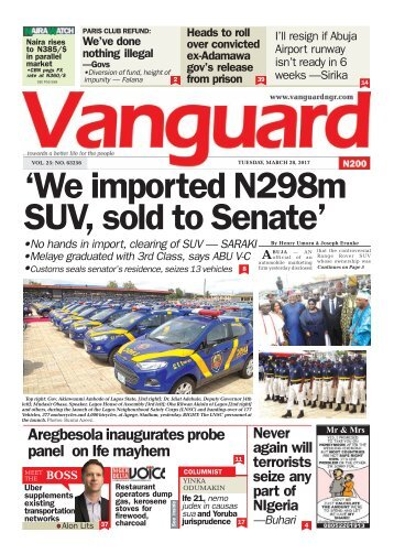28032017: 'We imported N298m SUV, sold to Senate'