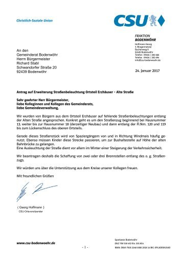 Antrag auf Erweiterung Straßenbeleuchtung Ortsteil Erzhäuser