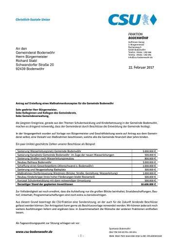 Antrag auf Maßnahmenkonzept Gemeinde Bodenwöhr