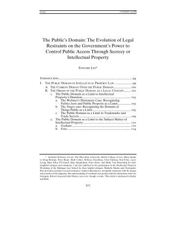 The Public's Domain: The Evolution of Legal Restraints on the ...