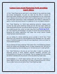 Contact Euro trend Plastering Perth providing expert Advice