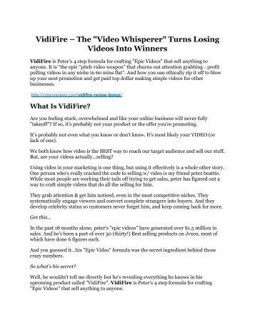 Vidifire Detail Review and Vidifire $22,700 Bonus