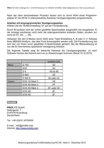 Priolite Bedienungsanleitung Fernbedienung RC-HS Deutsch