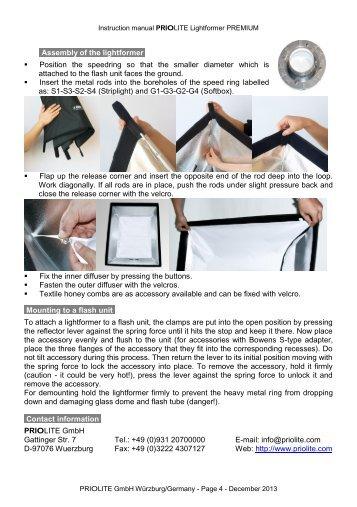 Priolite Lichtformer Premium Bedienungsanleitung