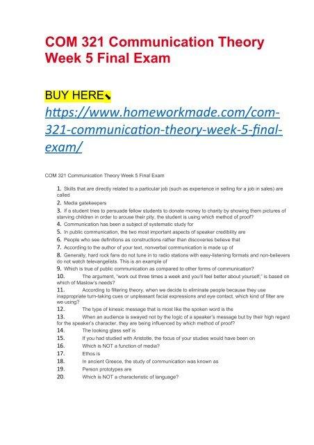 COM 321 Communication Theory Week 5 Final Exam