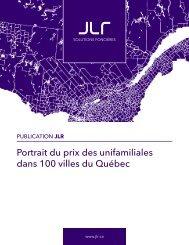 Portrait du prix des unifamiliales dans 100 villes du Québec