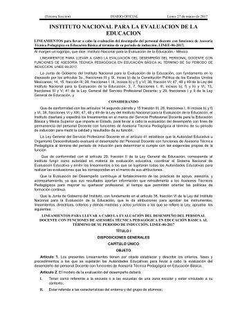 INSTITUTO NACIONAL PARA LA EVALUACION DE LA EDUCACION
