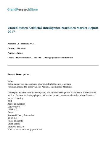 United States Artificial Intelligence Machines Market Report 2017
