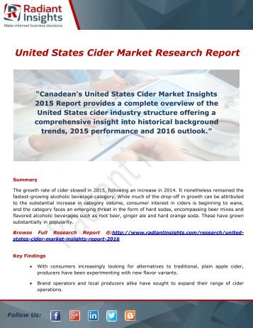 United States Cider Market- Trends, Demand, Analysis & Forecasts by Radiant Insights,Inc