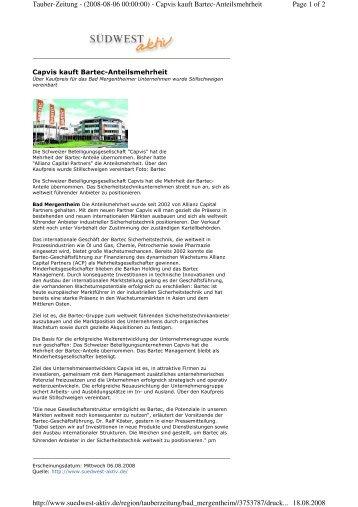 Tauber-Zeitung Capvis kauft Bartec-Anteilsmehrheit - Syncap