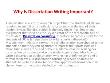 Find Best Dissertation Consulting Services UK at cheap price from MyAssignmenthelp.com