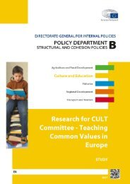 Research for CULT Committee - Teaching Common Values in Europe