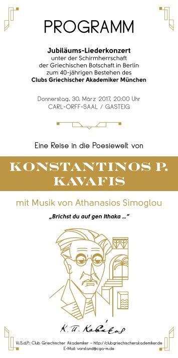 Jubiläums-Liederkonzert des Clubs Griechischer Akademiker München