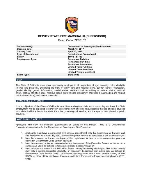 DEPUTY STATE FIRE MARSHAL III (SUPERVISOR) Exam Code 7FS0102