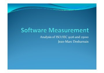Analysis of ISO/IEC 9126 and 25010 Jean-Marc Desharnais